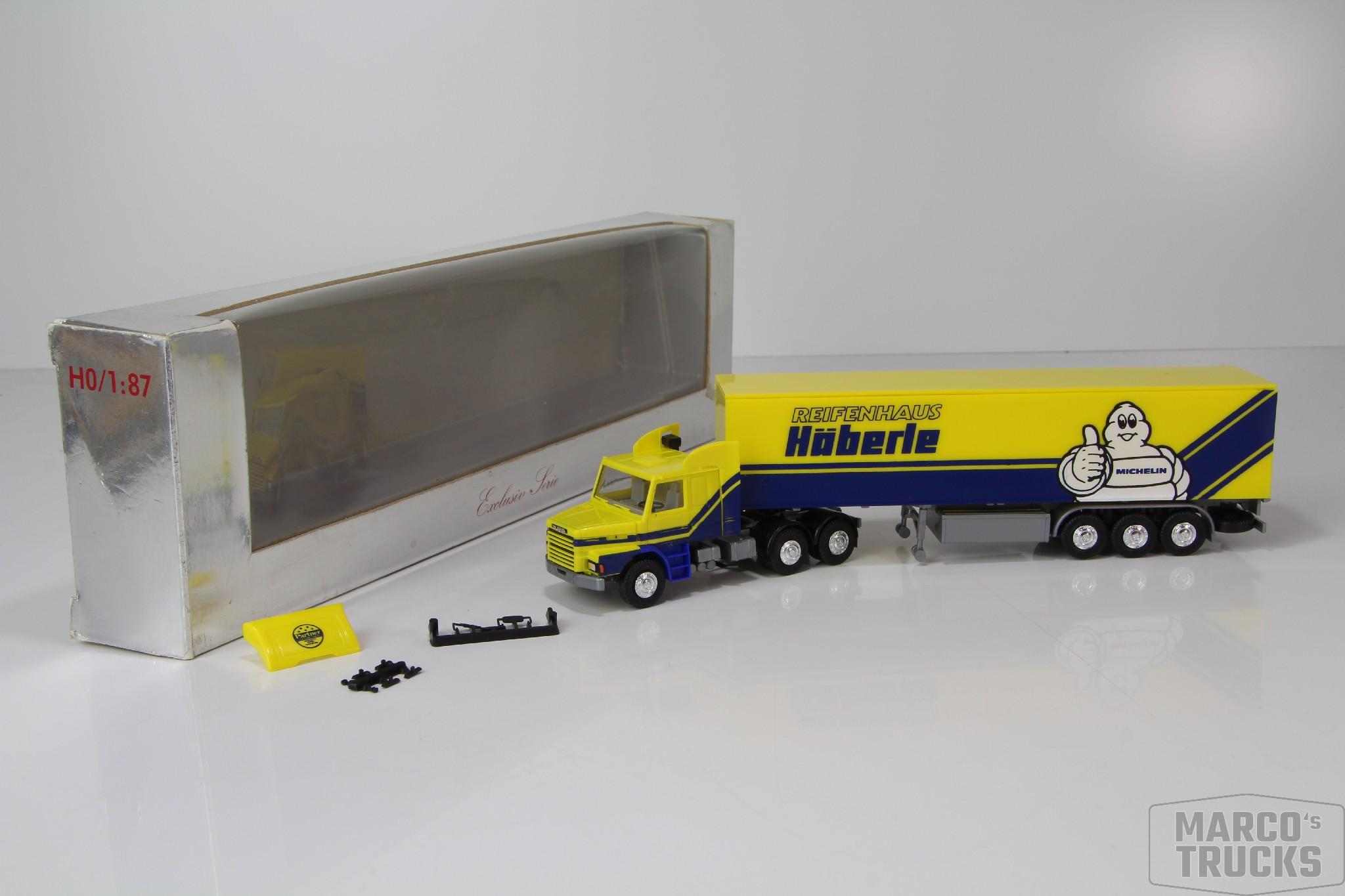 "Herpa Scania 142 Hauber Koffersattelzug 3a /""Reifenhaus Häberle Michelin/"" //H6719"