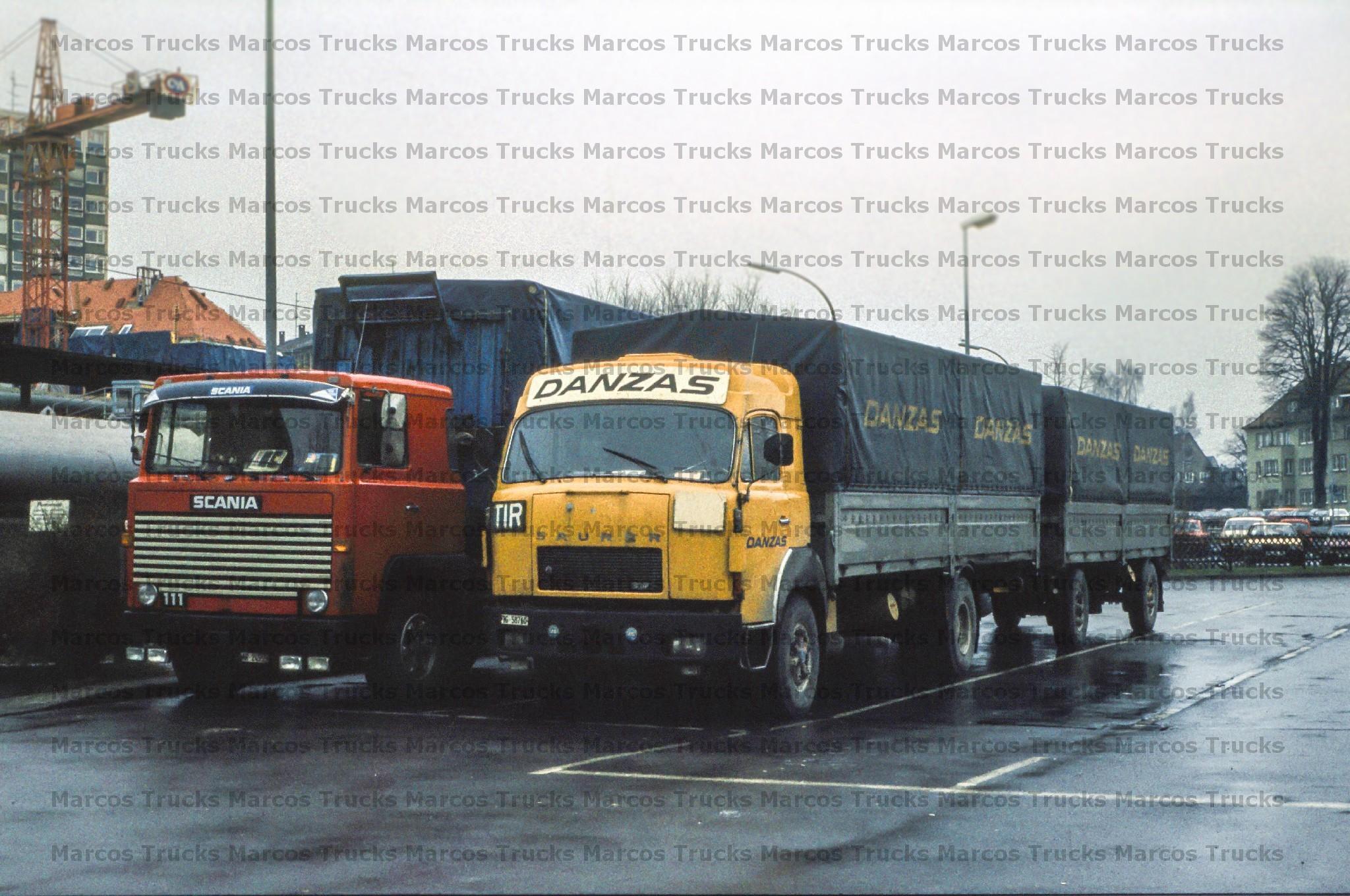 Foto camiones scania 111 y ácida 5df hängerzug suiza 10x15cm//lf299